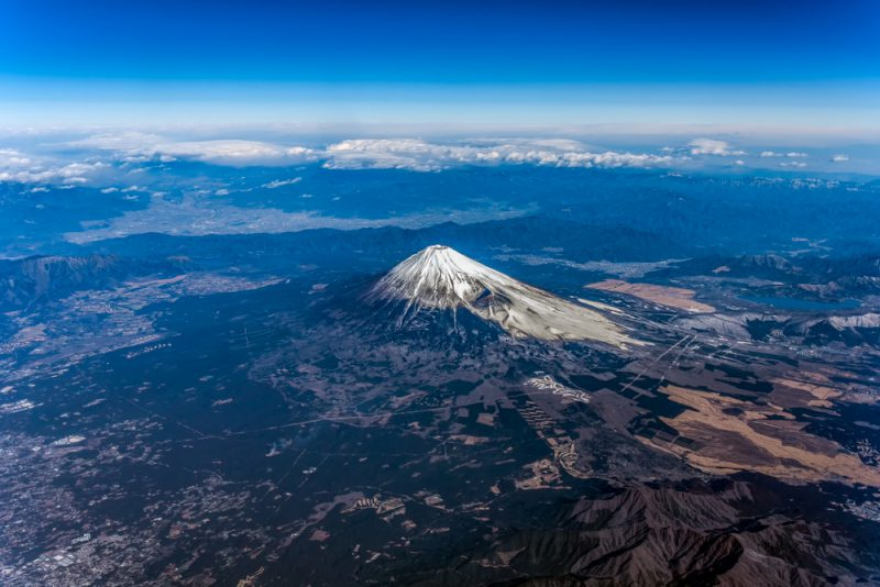 Aerial view of Mount Fuji volcano with a snow cap in Japan