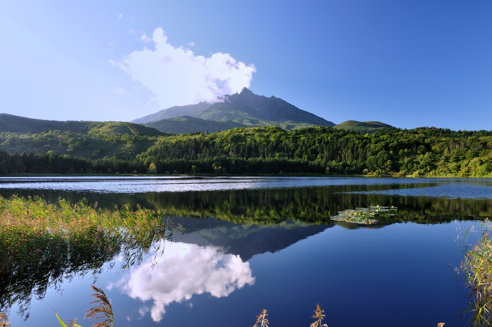 Mount Rishiri and Otatomari-numa in island of Rishiri, Hokkaido