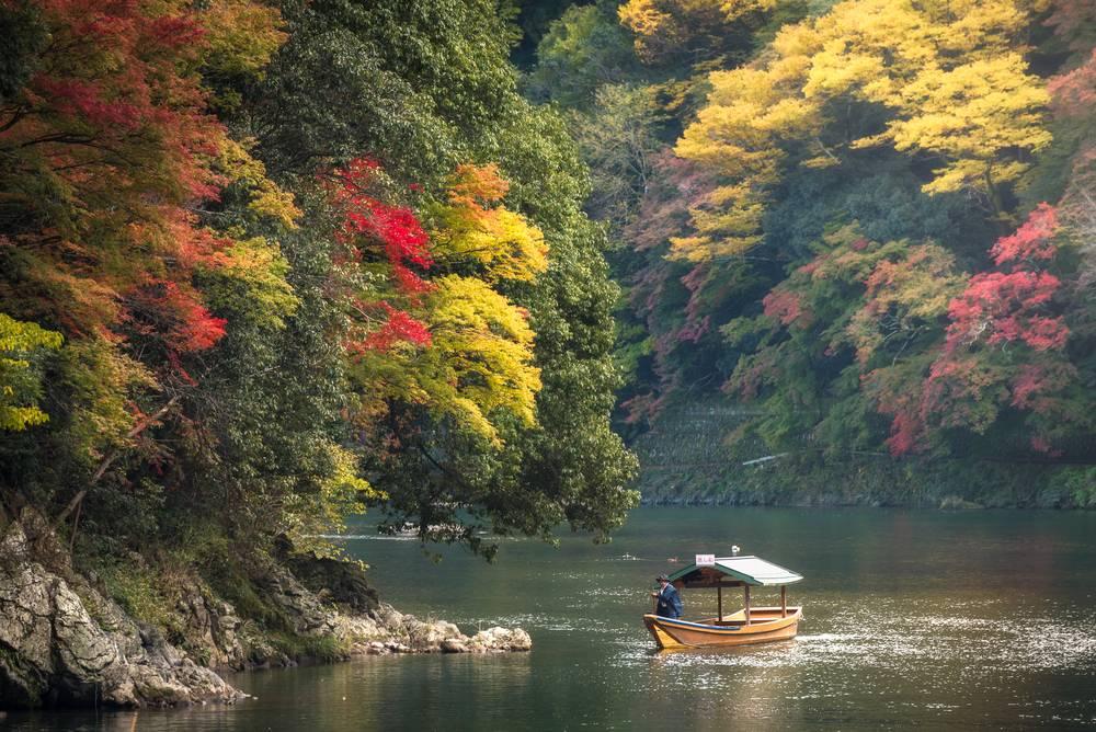 ozugawa River cruise during Autumn season. Hozugawa River Cruises (Hozugawa Kudari) are sightseeing boat rides down the Hozugawa River from Kameoka to Arashiyama