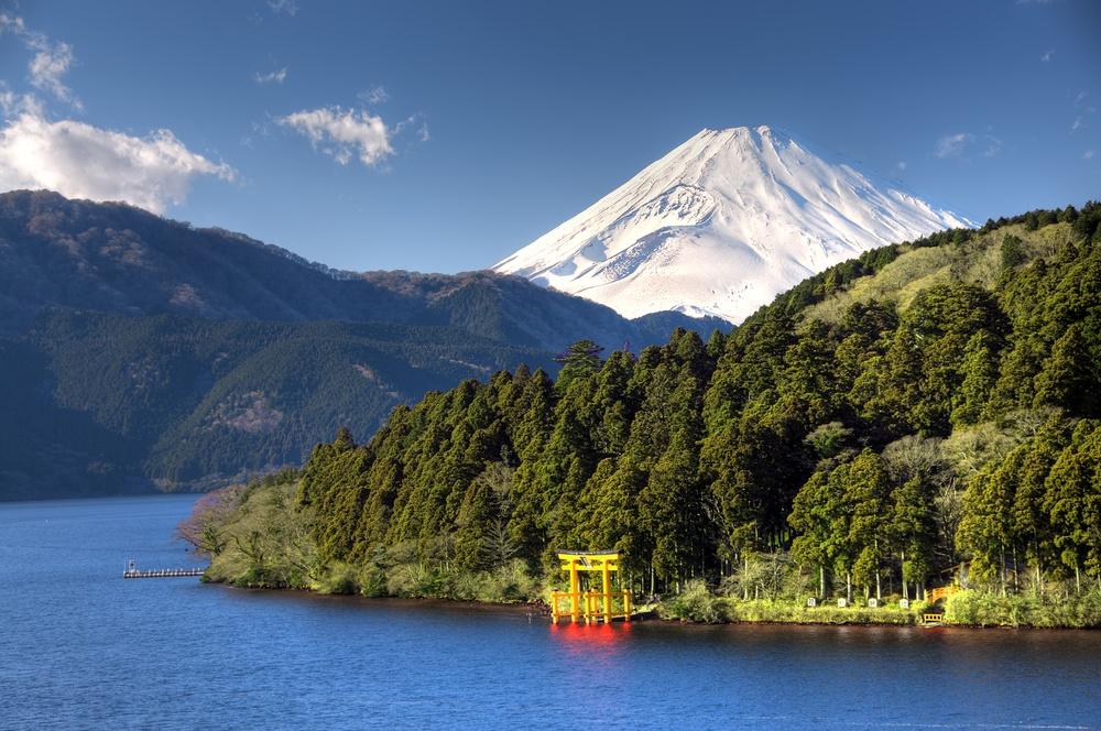 Mount Fuji, Red Torii Gate and Lake Ashinoko, Hakone