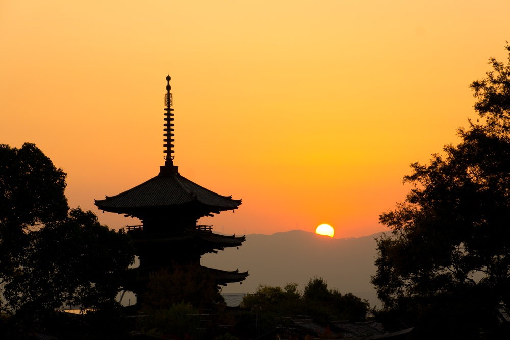 Beautiful sunset in Kyoto