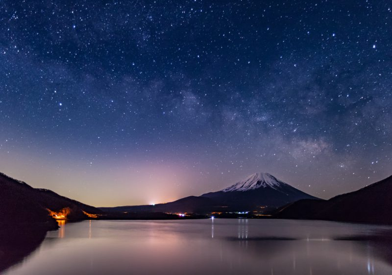 Mountain Fuji and Milkyway at Lake Motosu in winter season