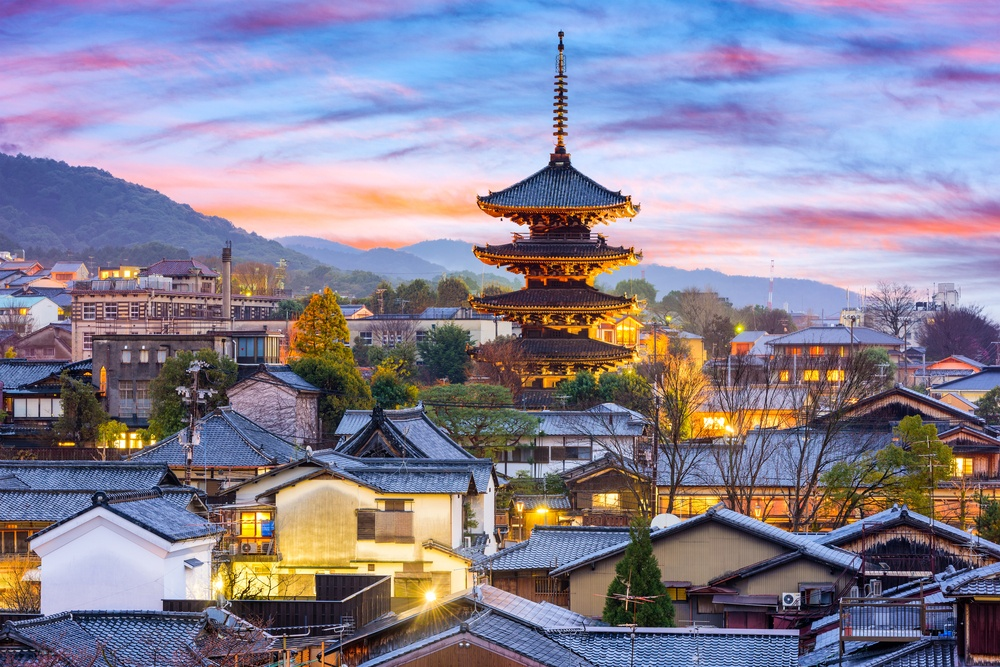 Kyoto, Japan cityscape in Higashiyama historic district