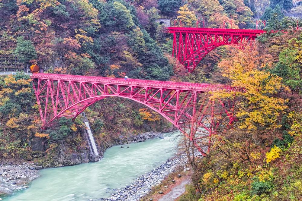 Kurobe Gorge Railway red bridge, Japan