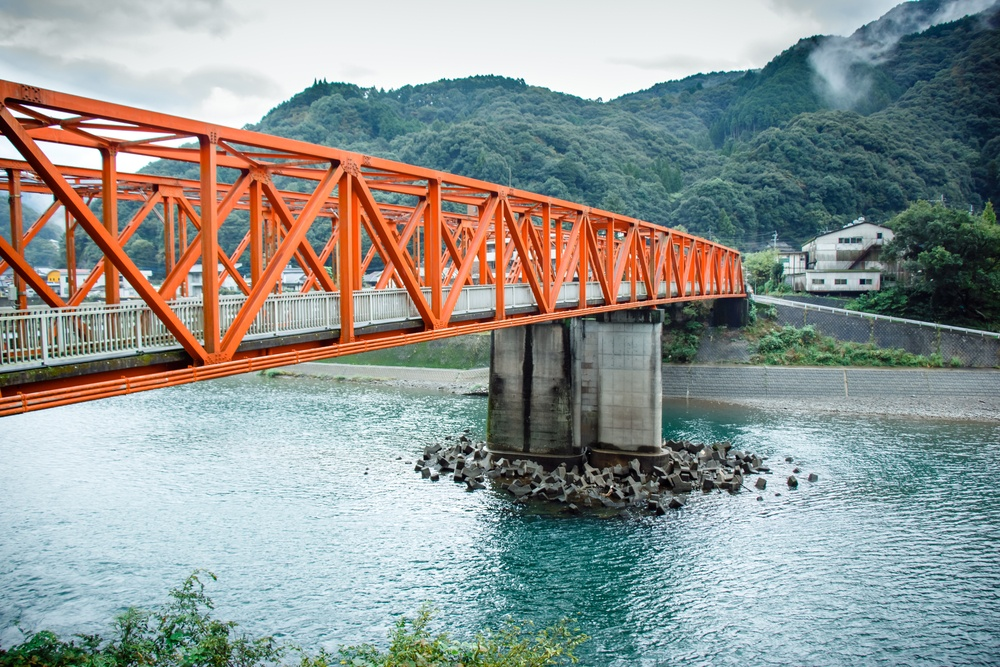 Red iron bridge at Sakamotomachi, Sakamoto, Yatsushiro, Kumamoto Prefecture.