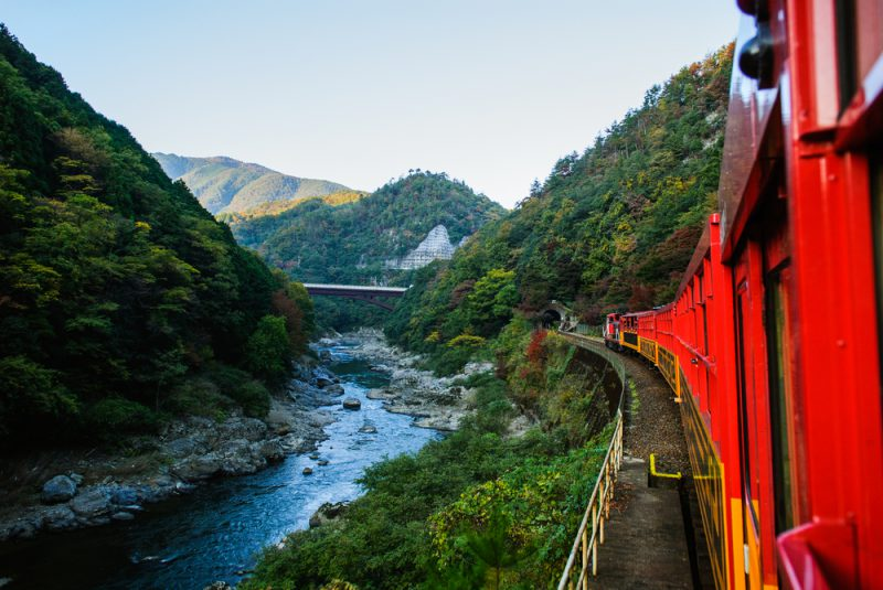 Romantic train in Osaka Japan scene from the river below